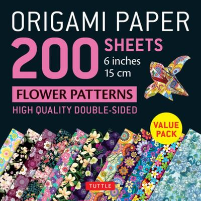 Origami Paper 200 Sheets Flower Patterns 6 (15 Cm) - High-Quality Double Sided Origami Sheets Printed with 12 Different Designs (Instructions for 6 Projects Included)