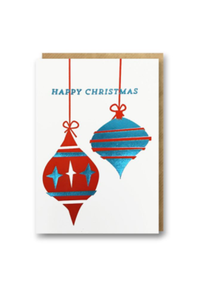 Red Blue Baubles mini card