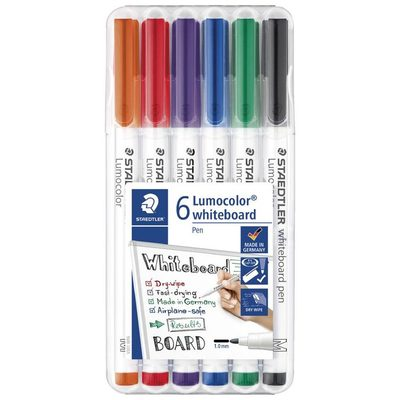 Whiteboard Pens Lumocolor Dry Wipe Assorted Colours Pack of 6 Staedtler - 301 WP6 - GNS
