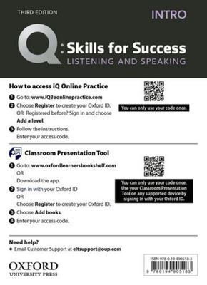 Q: Skills for Success: Intro Level: Listening and Speaking Teacher's Access Card - Intro Level Listening and Speaking Teacher's Access Card