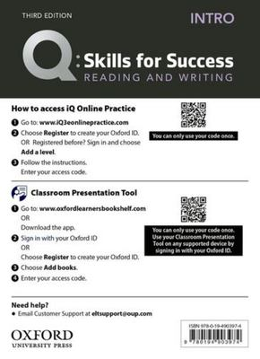 Q: Skills for Success: Intro Level: Reading and Writing Teacher's Access Card - Intro Level Reading and Writing Teacher's Access Card