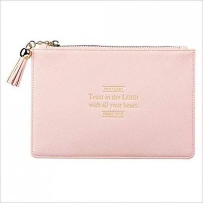 Pouch LuxLeather Trust Proverbs 3:5 Pink
