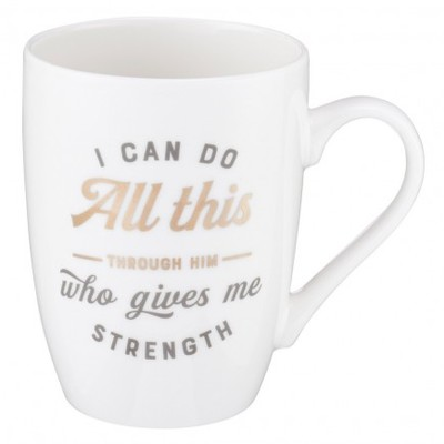 Mug I Can Do All Things White/Gold - Philippians 4:13