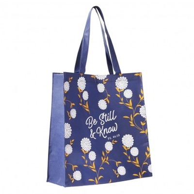 Tote Bag Be Still & Know Blue/White - Psalm 46:10