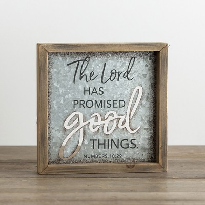 Plaque Box Sign Wood Metal Lord Promise
