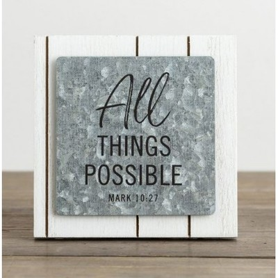 Plaque Wood Metal All Things Possible