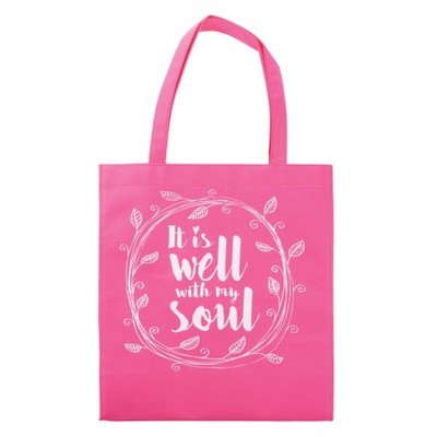 Tote Bag It Is Well With My Soul Pink/White