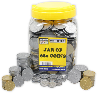 Jar of Coins 680 Plastic Money Coins - 1F005 - Abacus