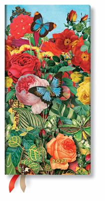 2021 Diary Butterfly Garden, Slim, HOR Week at a Time