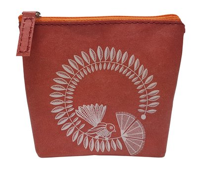Coin Purse - Fantail On Red