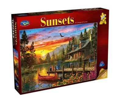 Large 0007178 holdson puzzle sunsets s3 1000pc a cottage at sunset