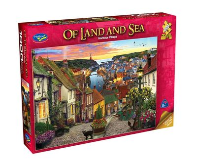 Large 0005513 holdson puzzle of land and sea 1000pc harbour village