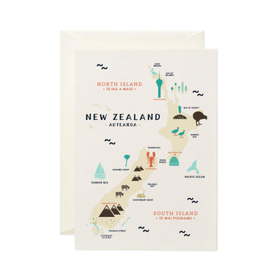 Toodles Noodles - Map Of New Zealand - Card