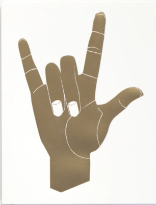 Gold Foiled Sign of the Horns Greeting Card