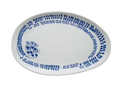 Serving Platter - Kowhai Blue on White