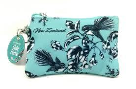 Coin Purse NZ Flowers Birds Pastel blue