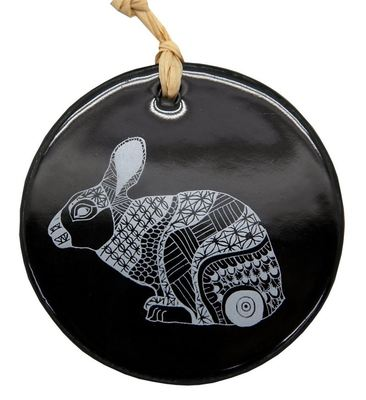 Hanging Decoration - White Bunny on Black 8cm