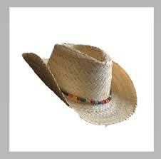 flax hat with beads