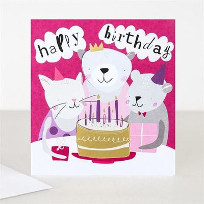 Card - Happy Birthday Cat & Bear