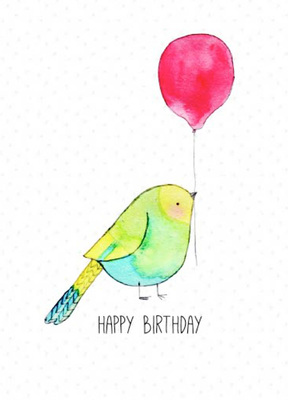 Happy Birdthday Bird with Balloon CARD