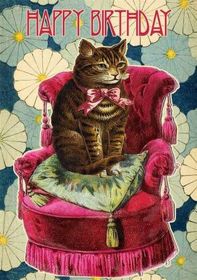 Card - Cat On The Red Chair (MAD HB156)