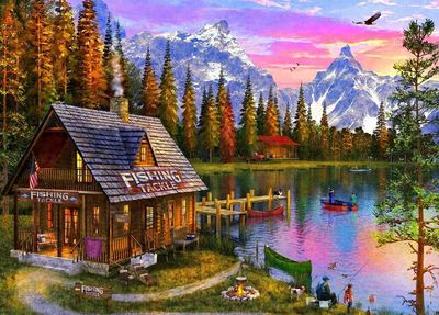 Large 0007075 holdson puzzle sunsets s3 1000pc at the fishing hut