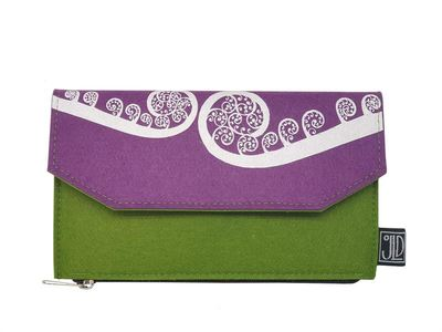 Ecofelt Wallet  - Ponga Purple and Green
