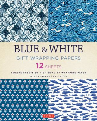 Blue & White Gift Wrapping Paper (12 sheets)