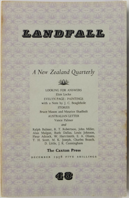 Landfall 48 A New Zealand Quarterly Volume Twelve Number Four December 1958