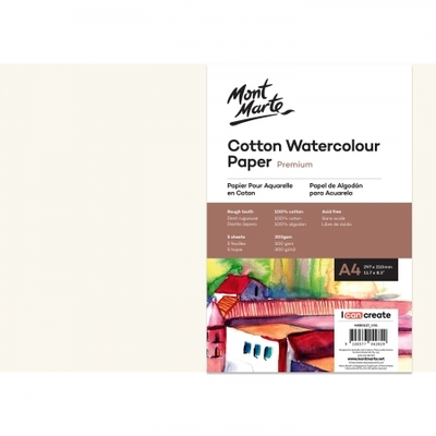 Premium Cotton Watercolour Paper 300gsm A4 (11.7 x 8.3in) 5 Sheets MSB0127