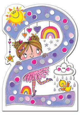 Age 2 Birthday Girl and Rainbows Card