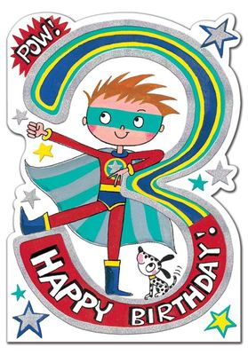 Birthday Card 3 Superhero (RED STAR06)