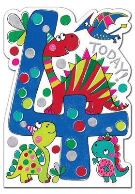 4 Today Dinosaur Birthday Card