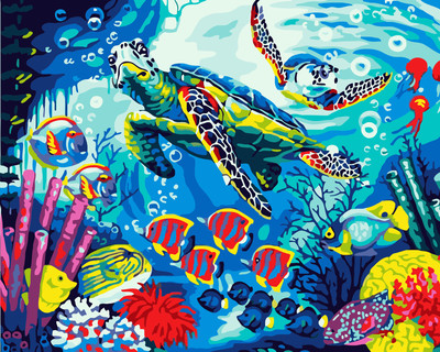 Turtle DIY Paint By Numbers Canvas