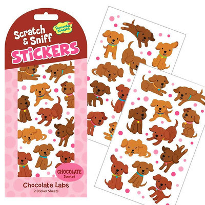 Chocolate scented Chocolate Lab Puppy Stickers