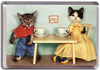 Homepage mag461 cat tea party magnet