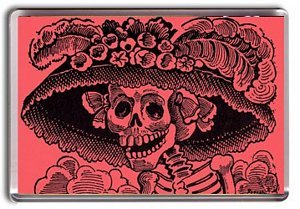 Day Of The Dead, Pink, Fridge Magnet