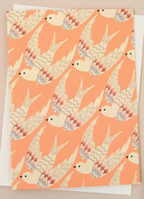 Birds in Flight Apricot Greeting Card