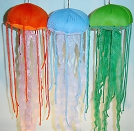 Large three jellyfish string puppets