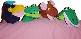 Large wide mouthed frog glove puppets