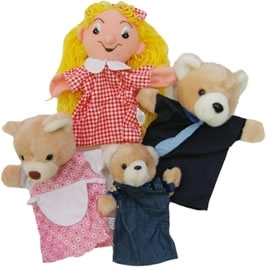 Large goldilocks and the three bears hand puppet