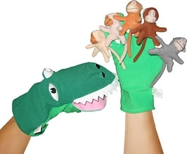 Large five cheeky monkeys glove puppets with velcro