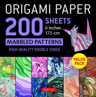 Origami Paper 200 Sheets Marbled Patterns 6 (15 Cm) - Tuttle Origami Paper: High-Quality Double Sided Origami Sheets Printed with 12 Different Patterns (Instructions for 6 Projects Included)
