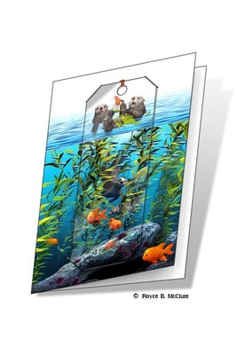 Sea Otters 3D Bookmark Card