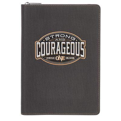 Journal Lux-Leather Strong & Courageous W/Zipper