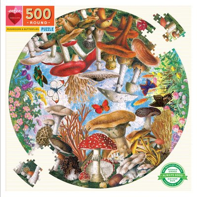 Mushrooms & Butterflies: 500-piece Round Jigsaw Puzzle (EB-PZFMBU)