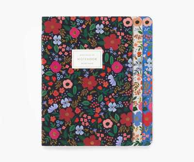 Pack of 3 Stitched Notebooks Large Ruled Wild Rose