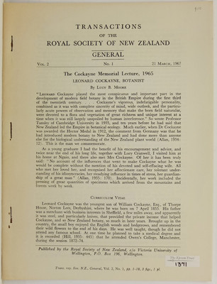 Leonard Cockayne, Botanist. The Cockayne Memorial Lecture 1965