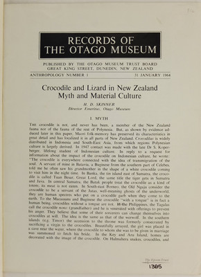 Crocodile and Lizard in New Zealand Myth and Material Culture