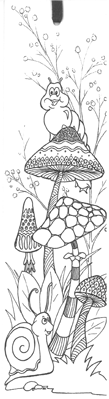 Mushroom, Caterpillar, Snail (Colour-Yourself-Bookmark)